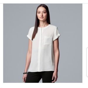 NWOT - Simply Vera Vera Wang White High-Low Blouse